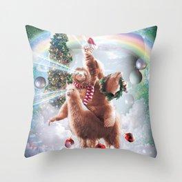 Christmas Laser Eyes Space Cat Riding Sloth Llama Throw Pillow
