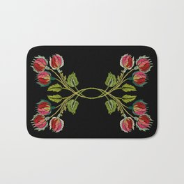 Embroidered Scandi Flowers Bath Mat