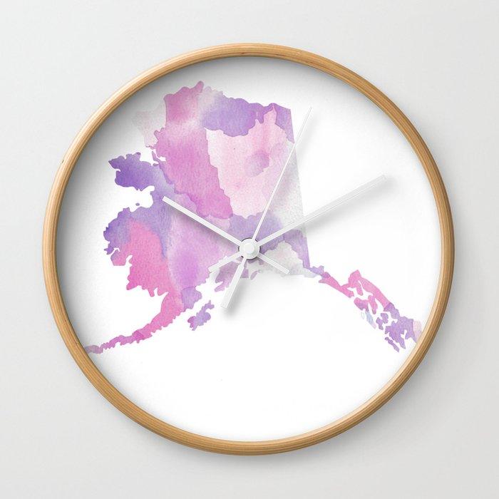 Purple State Map.Watercolor State Map Alaska Ak Purple Wall Clock By Rockyrivers