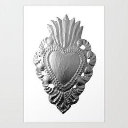 Silver milagro heart Art Print