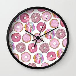 Cute Pink Sprinkle Confetti Watercolor Donuts Wall Clock