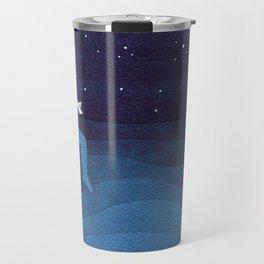 Boy with paper boats, blue Travel Mug
