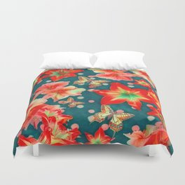 Amaryllis and Butterflies 2 Duvet Cover