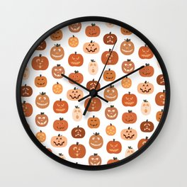 jack o' lanterns. (white variant) Wall Clock