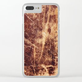 Aged Worn Leather Clear iPhone Case
