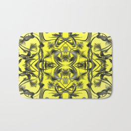 silver in yellow Digital pattern with circles and fractals artfully colored design for house Bath Mat