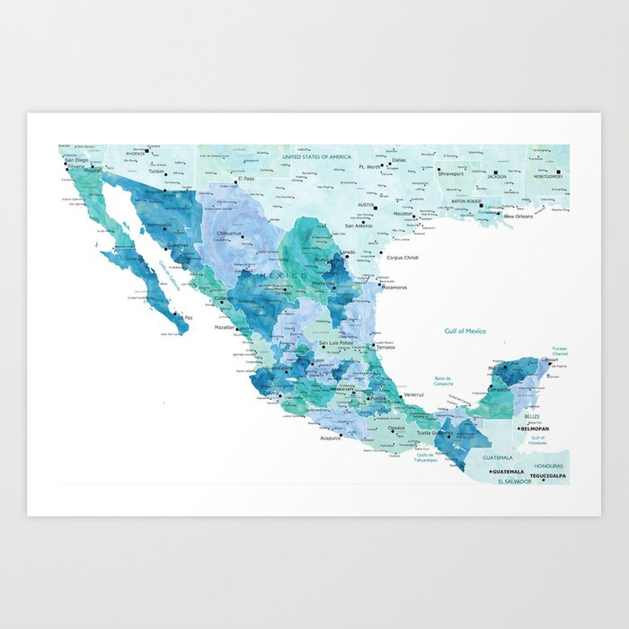 Detailed map of Mexico with states, aquamarine blue Art Print by  blursbyaishop