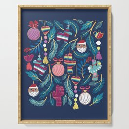 Mexican Christmas Tree // blue background blue pine leaves multicoloured holiday decorations pan dulce balls cacti hearts birds pom-pom garland pinatas santa claus conchas donuts Serving Tray