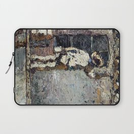 Adolphe Monticelli - A Painter at Work on a House  Wall Laptop Sleeve
