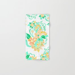 Modern yellow turquoise watercolor tropical floral illustration spring summer pattern Hand & Bath Towel