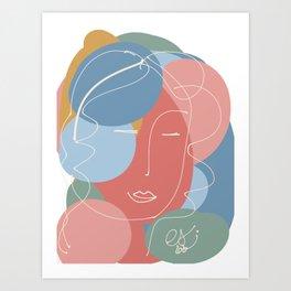 Abstract Minimal Portrait of a Woman Art Print