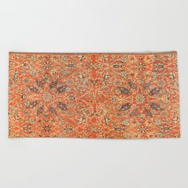 Antique Persian Sultanabad Rug Print Beach Towel