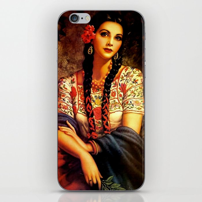 Jesus Helguera Painting of a Mexican Calendar Girl with Braids iPhone Skin