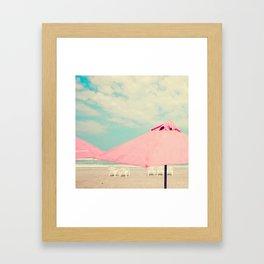 Pale Pink Umbrellas Framed Art Print