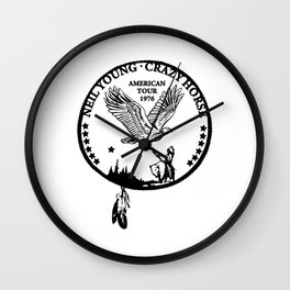 neil young crazy horse american tour 1976 Wall Clock