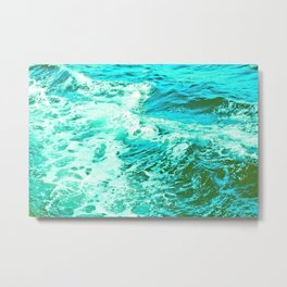 Ocean Vintage Retro Blue Green Metal Print