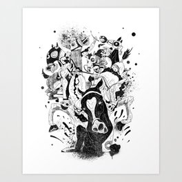 The Great Horse Race! B&W Edition Art Print