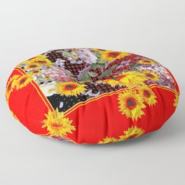 Chinese Red-Yellow Sunflowers Rose Garden Pattrn Floor Pillow
