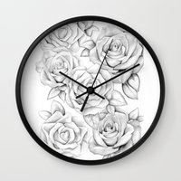 roses Wall Clocks featuring roses by iphigenia myos