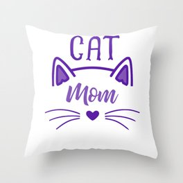 Cat Mom Heart Nose Ears and Whiskers pu Throw Pillow