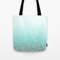 Gradient turquoise blue and white swirls doodles Tote Bag