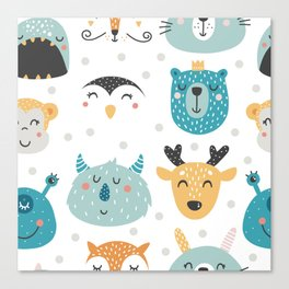 Baby Animals - Fantasy and Woodland Creatures Pattern Canvas Print