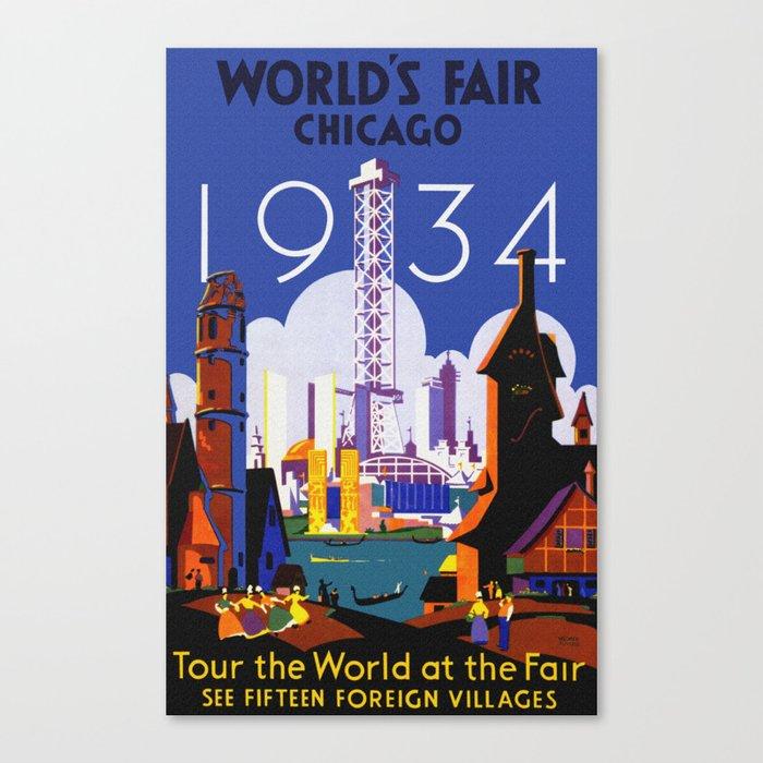 1934 Chicago World's Fair Travel Poster Canvas Print