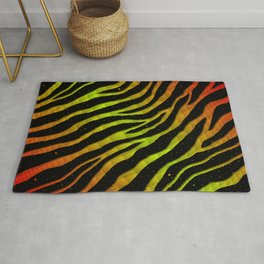 Ripped SpaceTime Stripes - Red/Lime Rug