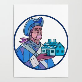 American Patriot House Mosaic Color Poster