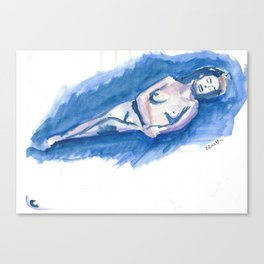 Watercolor of a Woman Canvas Print