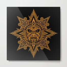 Ancient Yellow and Black Aztec Sun Mask Metal Print