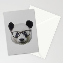 Panda with Nerd Glasses Stationery Cards