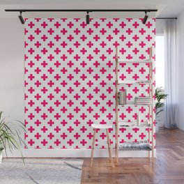 Hot Neon Pink Crosses on White Wall Mural