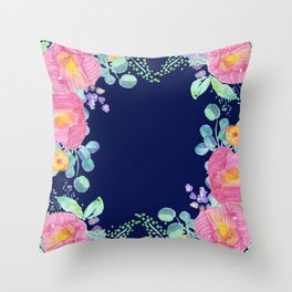 pink peonies with navy background Throw Pillow