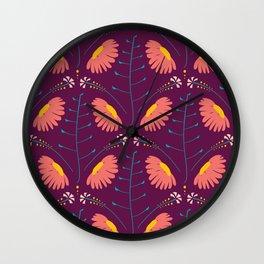 Spring Daisies 003 on Purple Wall Clock