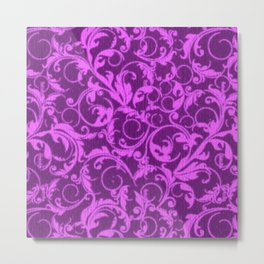 Vintage Swirls Winterberry Orchid Purple Metal Print