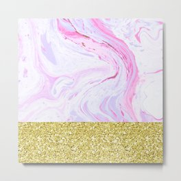 Gold Dipped Cotton Candy Marble Metal Print