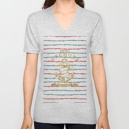 Maritime Design - Nautic Vintage Anchor on stripes in blue and red Unisex V-Neck