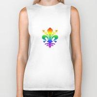 fleur de lis Biker Tanks featuring Rainbow Fleur-de-Lis by Cool Prints