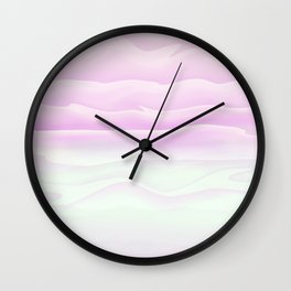Girly Pink and White Watercolor Abstract Waves Wall Clock