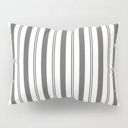 Pantone Pewter Gray & White Wide & Narrow Vertical Lines Stripe Pattern Pillow Sham