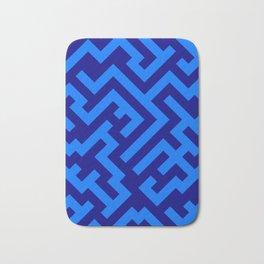Brandeis Blue and Navy Blue Diagonal Labyrinth Bath Mat