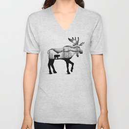 THE MOOSE AND THE BEAR Unisex V-Neck
