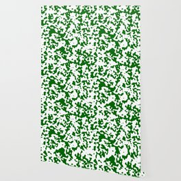 Spots - White and Dark Green Wallpaper