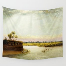 1873 Classical Masterpiece 'White Pelicans in Florida' by George Harvey Wall Tapestry