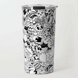Christmas Doodles Funny and Cute Black and White Characters Travel Mug