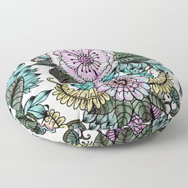 Hand painted pink teal lavender green watercolor floral Floor Pillow