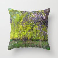 monet Throw Pillows featuring influence: monet by EnglishRose23