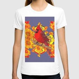 GOLDEN SUNFLOWERS RED CARDINAL GREY ART T-shirt