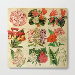 Antique Floral Collage Paper Flower Pattern Metal Print